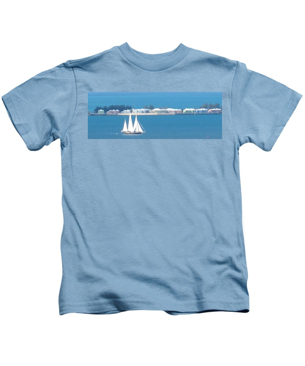 Sailboat Kids T-Shirt featuring the photograph Sails In Bermuda by Ian MacDonald