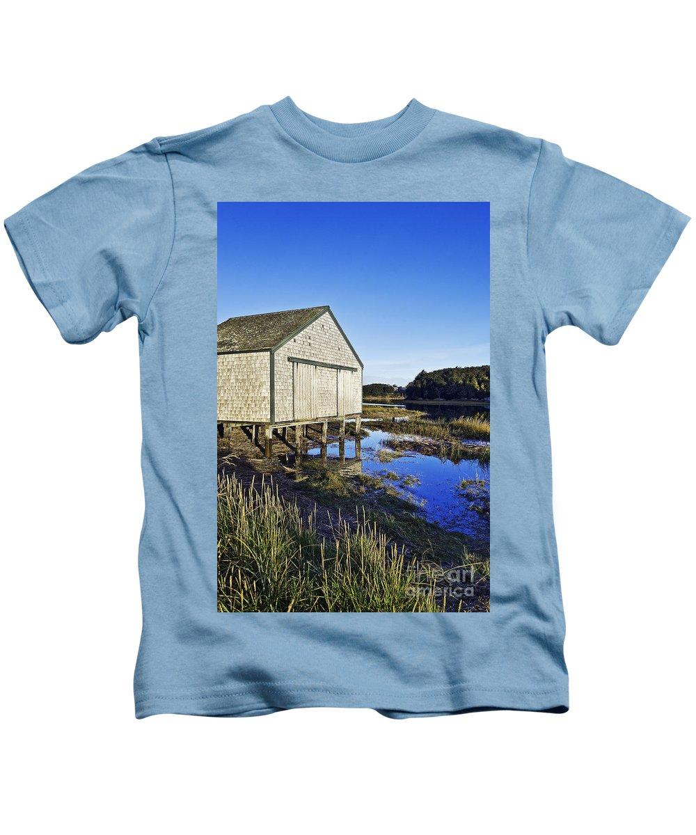 Cape Cod Kids T-Shirt featuring the photograph Salt Pond Boathouse by John Greim