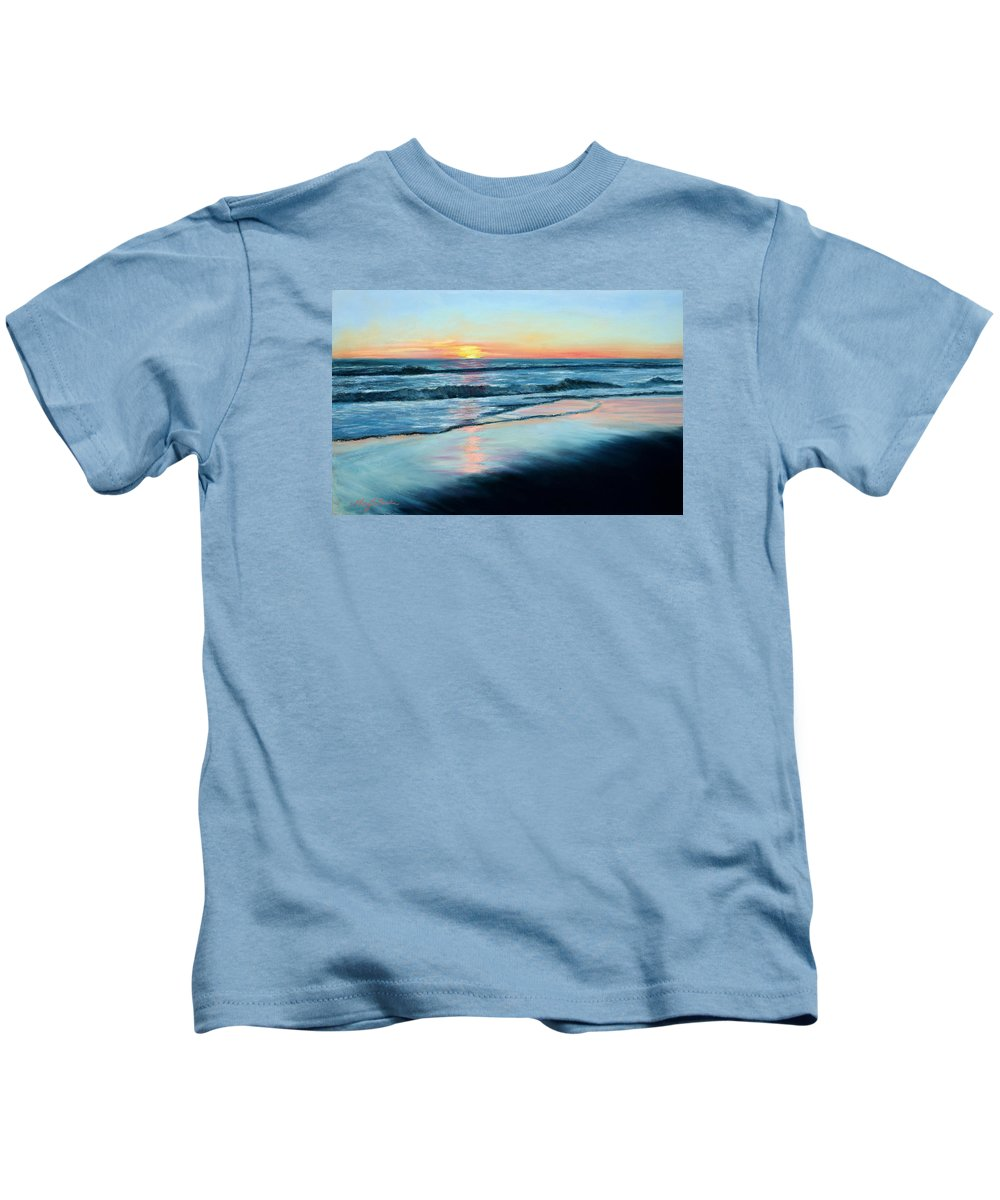 Sand Kids T-Shirt featuring the painting Sand Reflections by Mary Benke