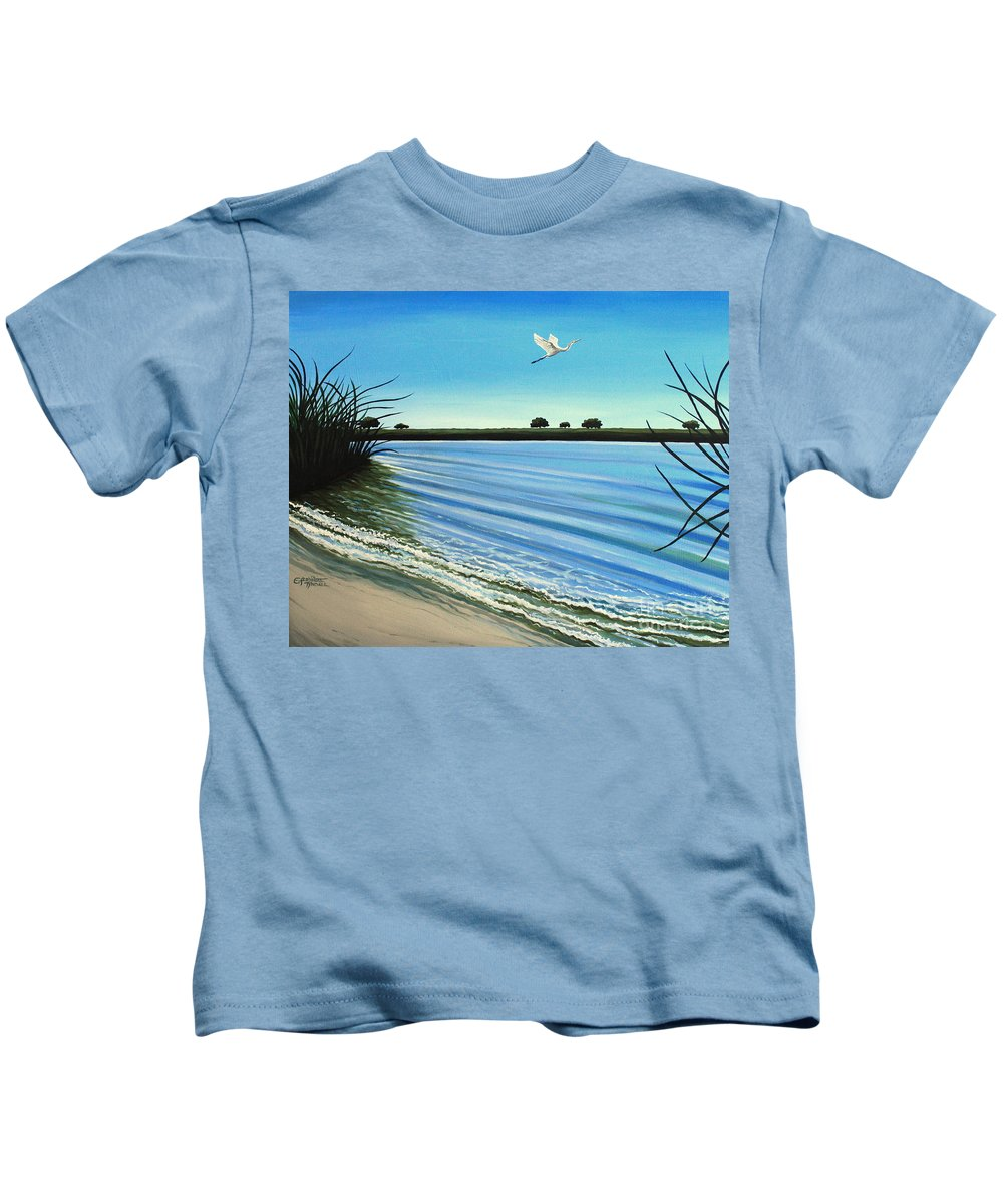 Beach Kids T-Shirt featuring the painting Sandy Beach by Elizabeth Robinette Tyndall