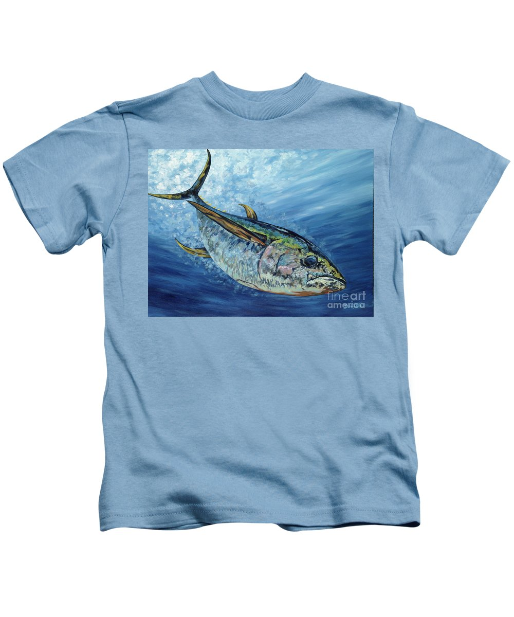 Yellow Fin Tuna Kids T-Shirt featuring the painting Sashimi by Danielle Perry