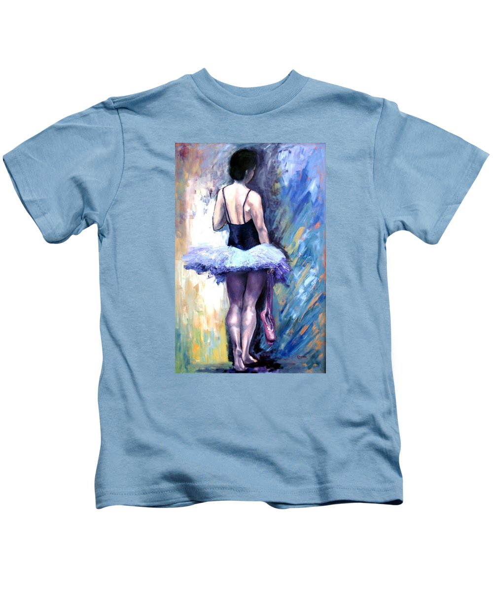 Ballerina Kids T-Shirt featuring the painting Satin Shoes by Janet Lavida