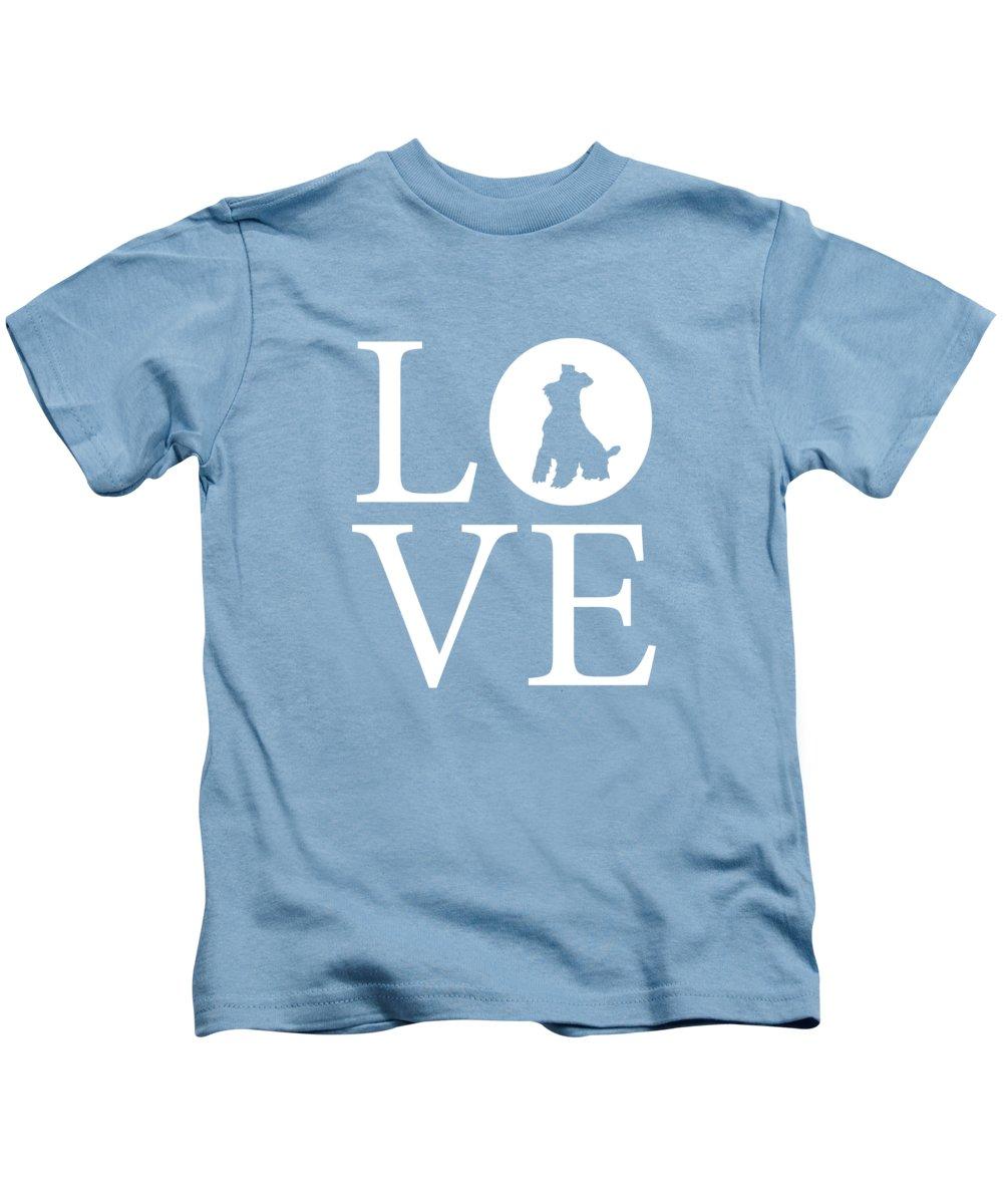 Schnauzer Love Kids T-Shirt featuring the digital art Schnauzer Love by Nancy Ingersoll