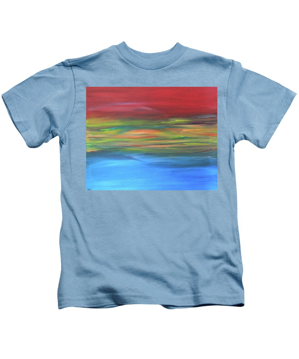 Abstract Painting Kids T-Shirt featuring the painting Sea And Sky by Carrie Godwin
