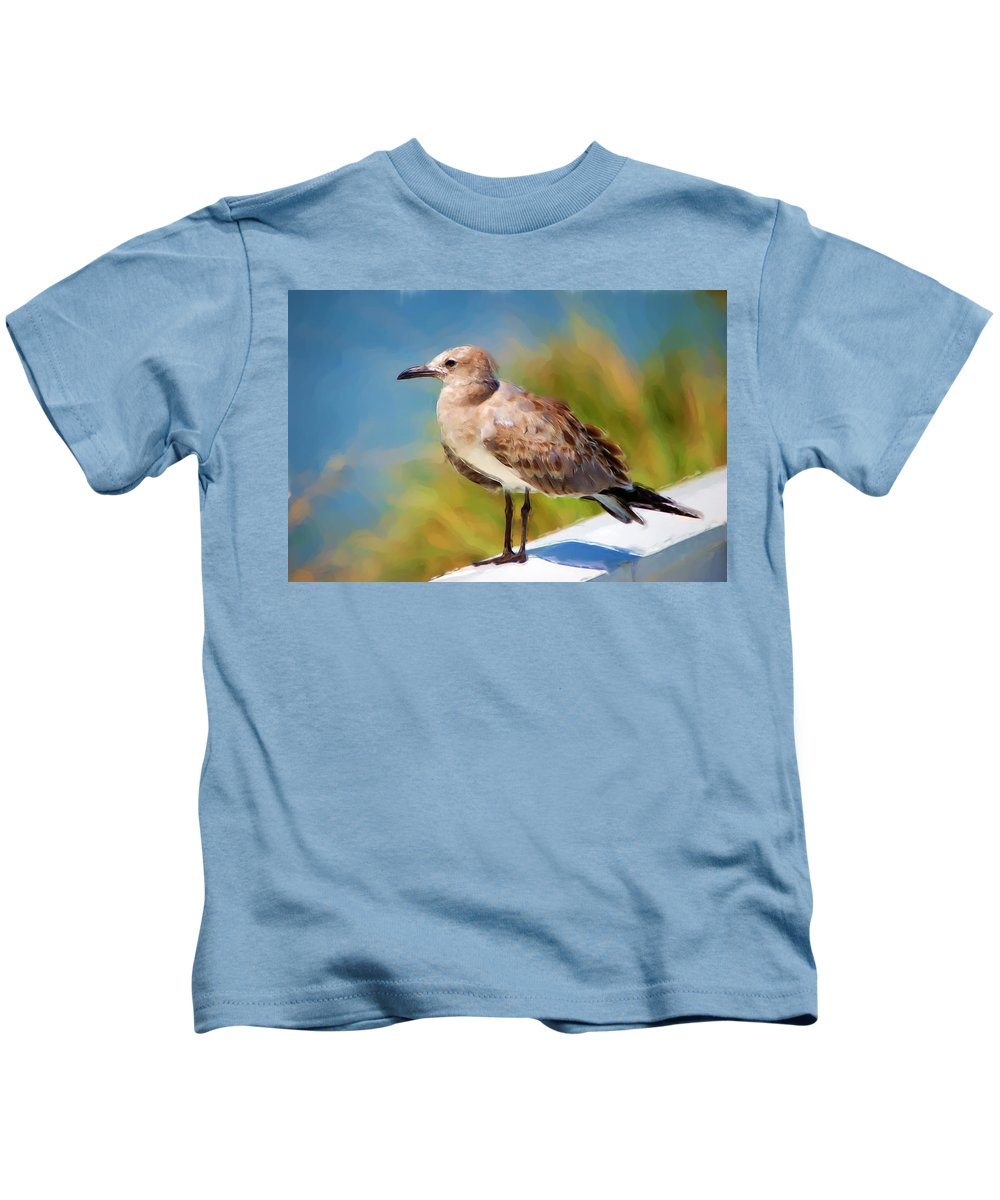 Gull Kids T-Shirt featuring the painting Sea Gull Of Boca Grande by Rich Leighton
