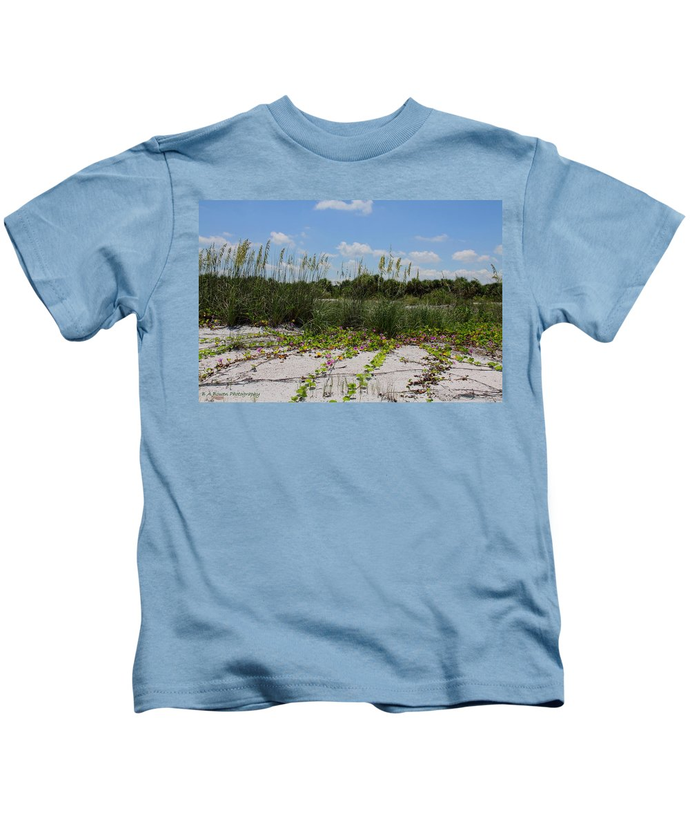 Beach Kids T-Shirt featuring the photograph Sea Oats And Blooming Cross Vine by Barbara Bowen