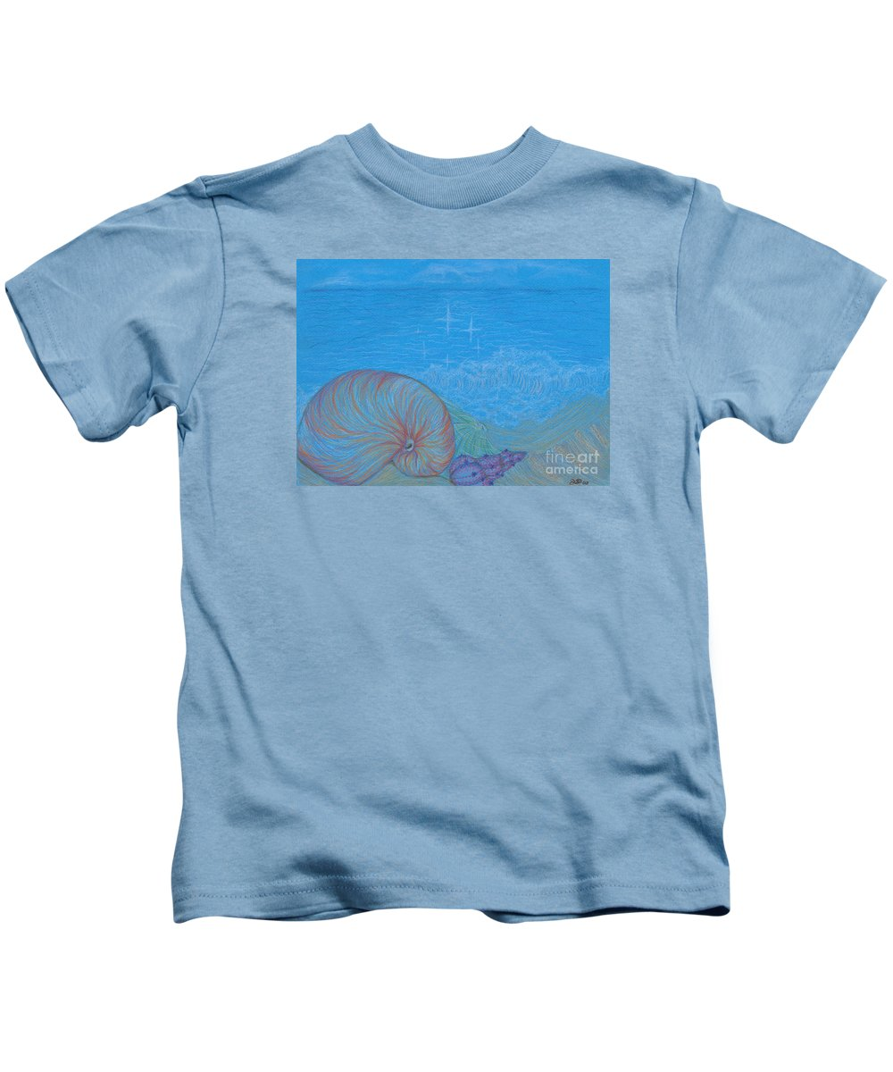 Sea Kids T-Shirt featuring the drawing Sea Shore by Kim Sy Ok