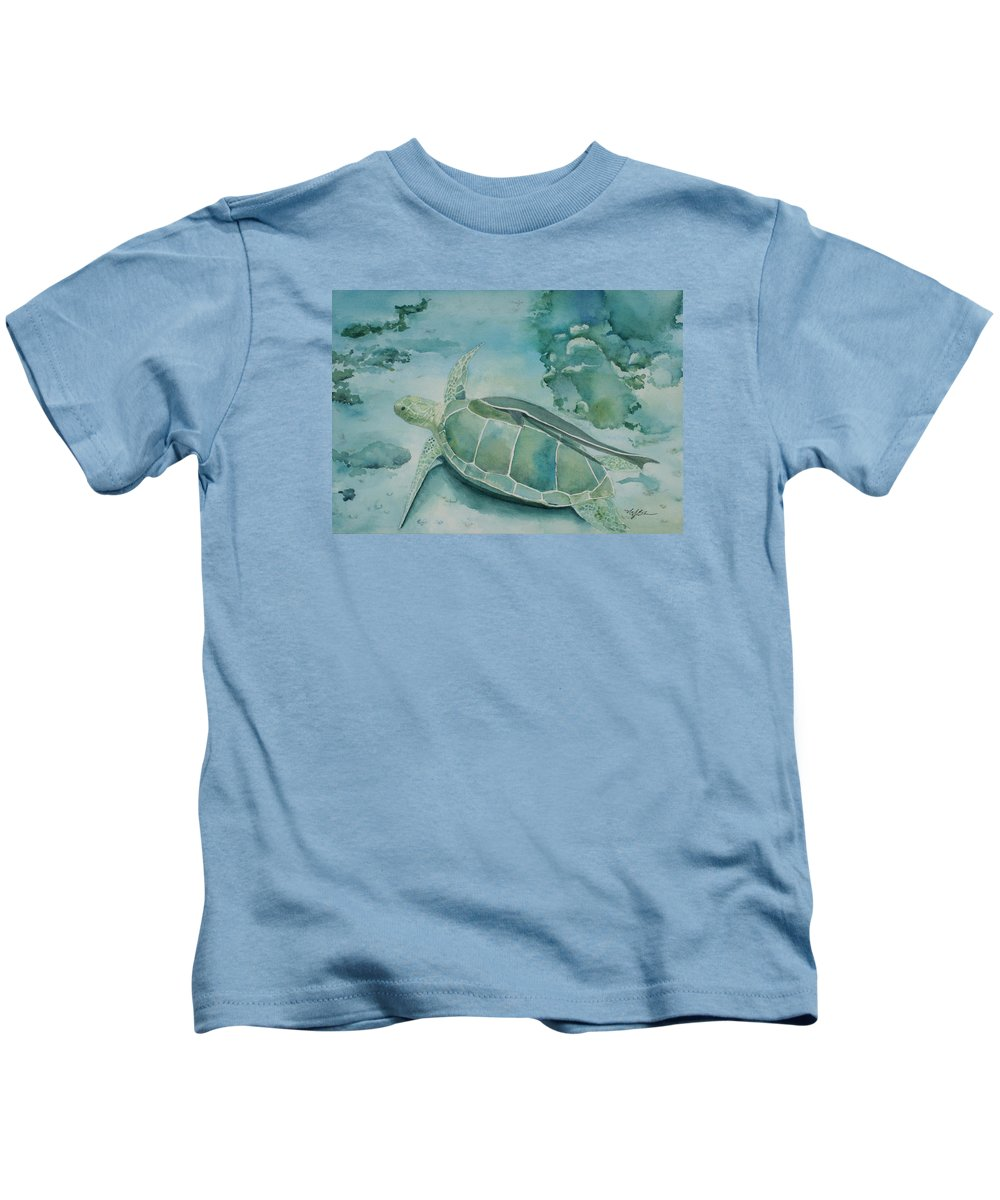 Turtle Kids T-Shirt featuring the painting Sea Turtle And Friend by Mary Benke