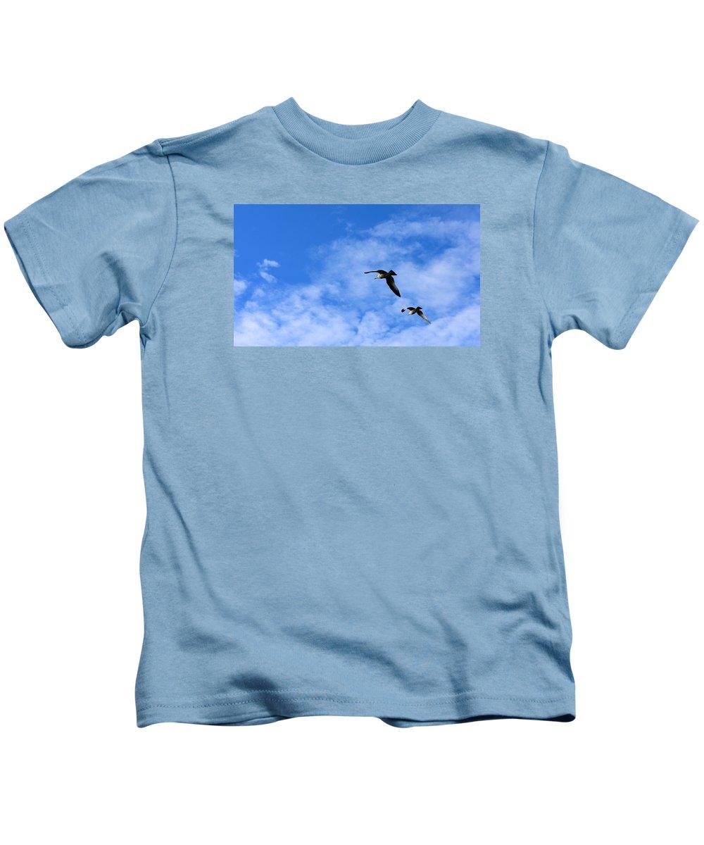 Birds Kids T-Shirt featuring the photograph Seagulls2 by Sergei Dratchev
