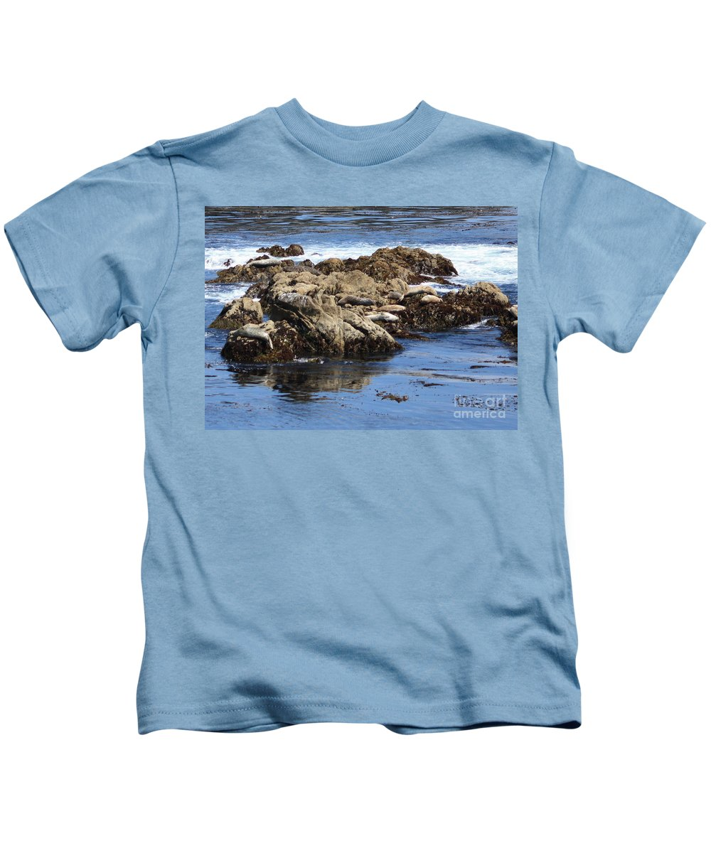 California Coast Kids T-Shirt featuring the photograph Seal Island by Carol Groenen