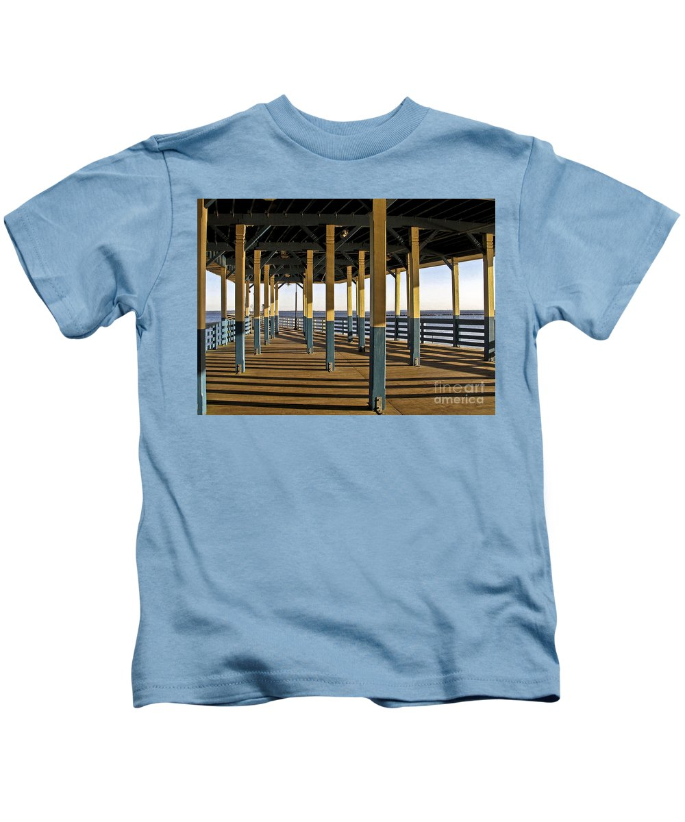 Seascape Kids T-Shirt featuring the photograph Seascape Walk On The Pier by Carol F Austin