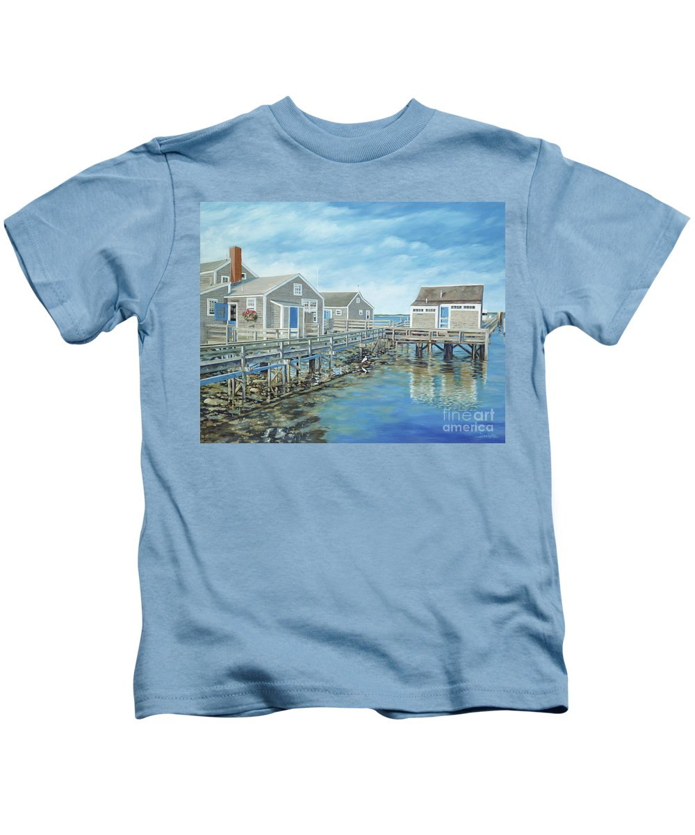 Nanutucket Kids T-Shirt featuring the painting Seaside Cottages by Danielle Perry