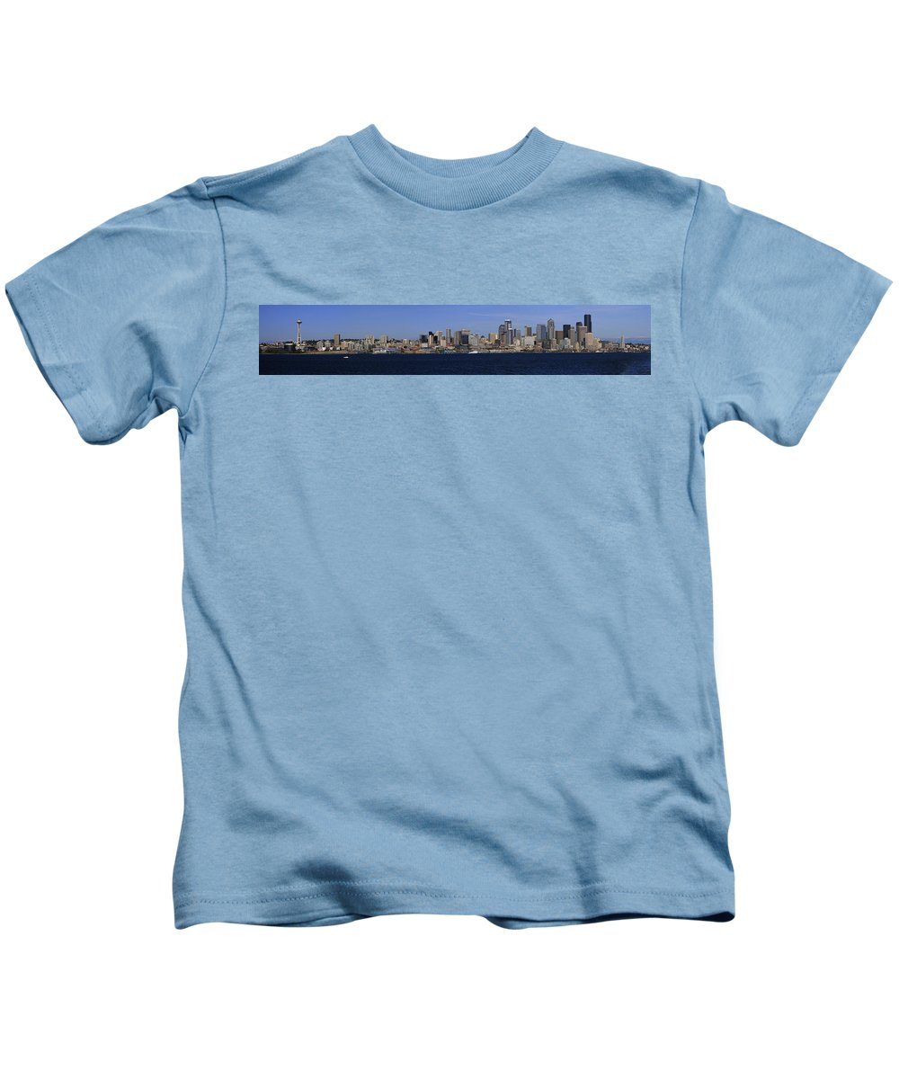 3scape Kids T-Shirt featuring the photograph Seattle Panoramic by Adam Romanowicz