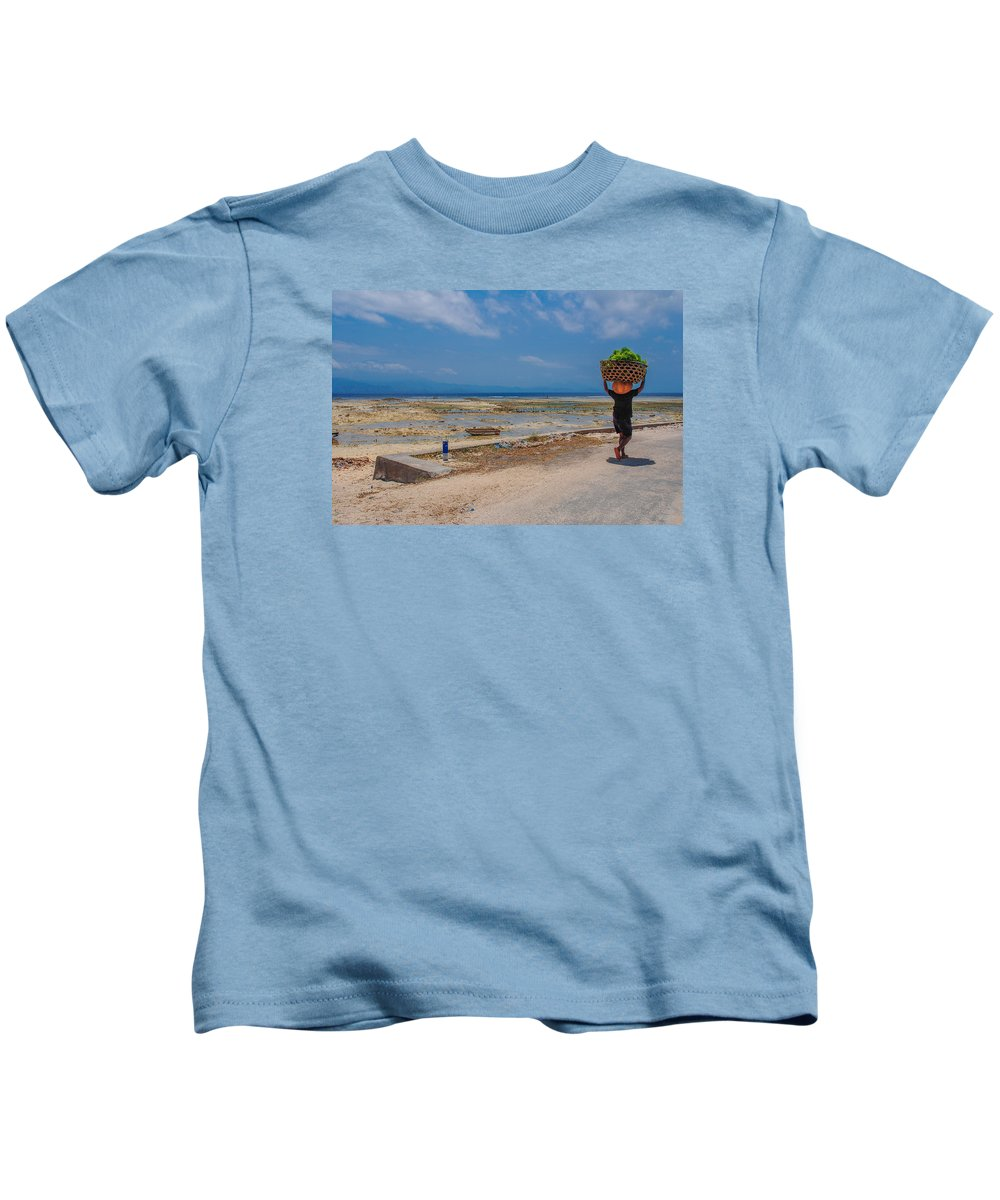 Seaweed Kids T-Shirt featuring the photograph Seaweed Farmer by Megan Martens