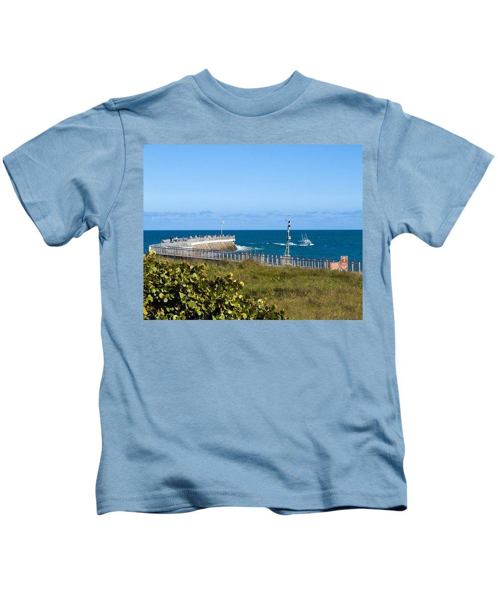 Florida; Space; Coast; Sebastian; Inlet; Indian; River; Lagoon; Shore; Sea; Ocean; Atlantic; East; W Kids T-Shirt featuring the photograph Sebastian Florida by Allan Hughes