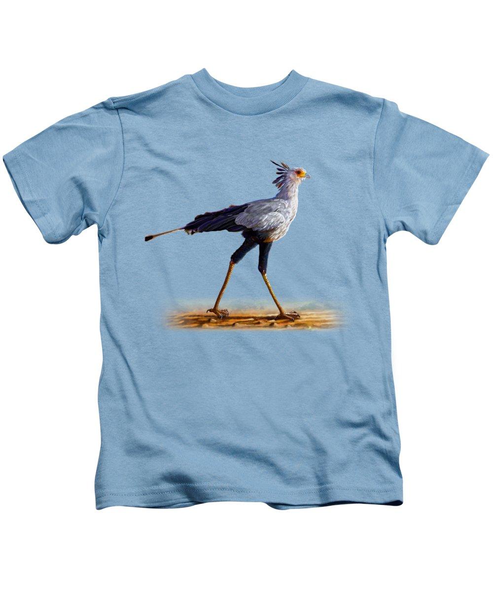 Kenya Kids T-Shirt featuring the painting Secretary Bird by Anthony Mwangi