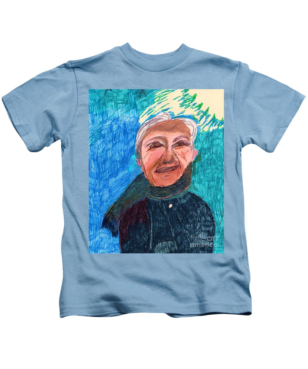 The Portrait Of A Senior Male. Kids T-Shirt featuring the mixed media Senior Dignity by Elinor Helen Rakowski