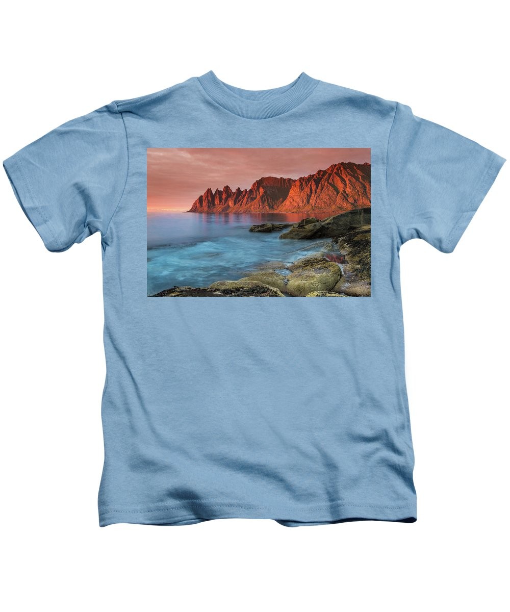 Senja Kids T-Shirt featuring the photograph Senja Red by Alex Conu