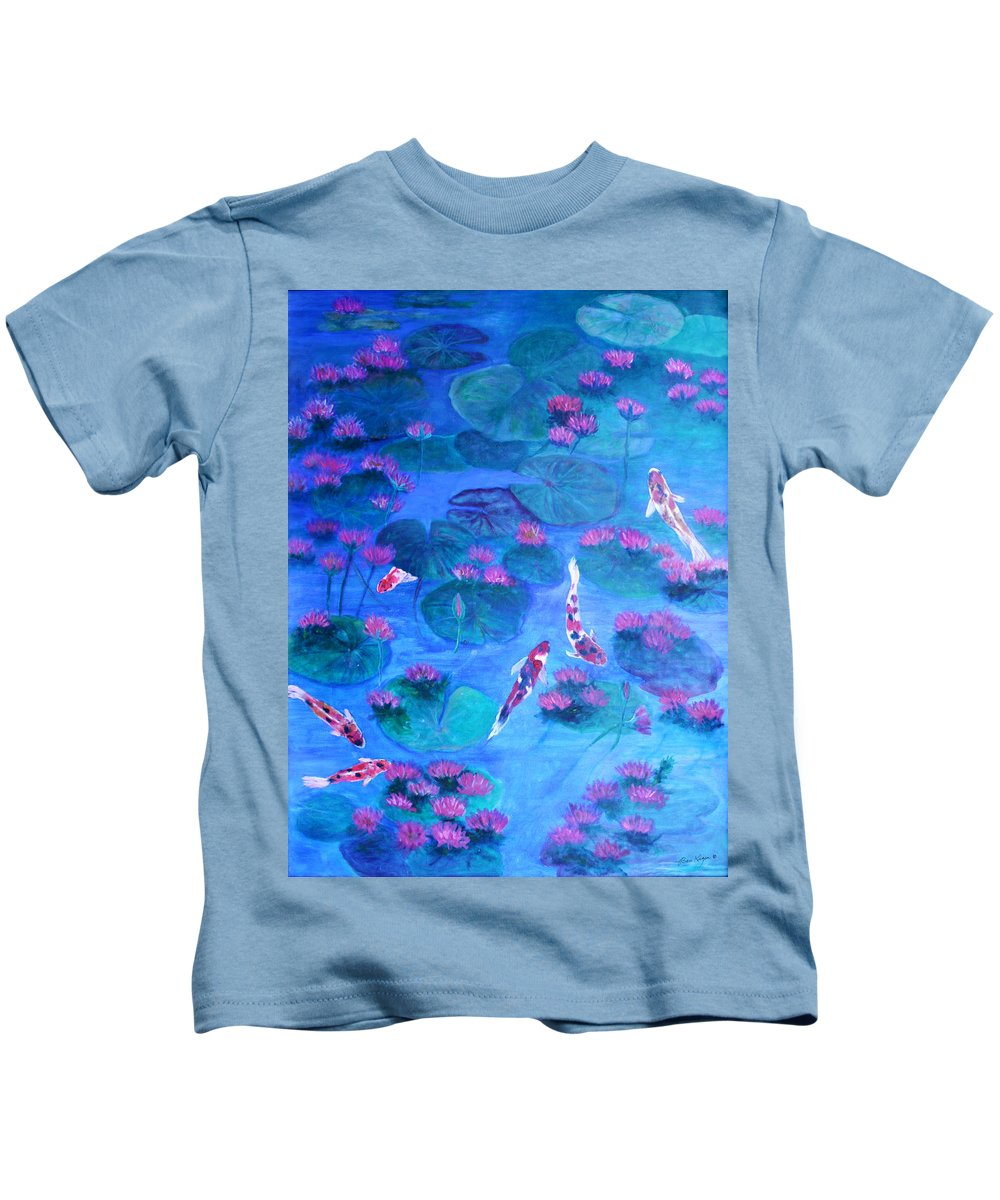 Lily Pads Kids T-Shirt featuring the painting Serene Pond by Ben Kiger