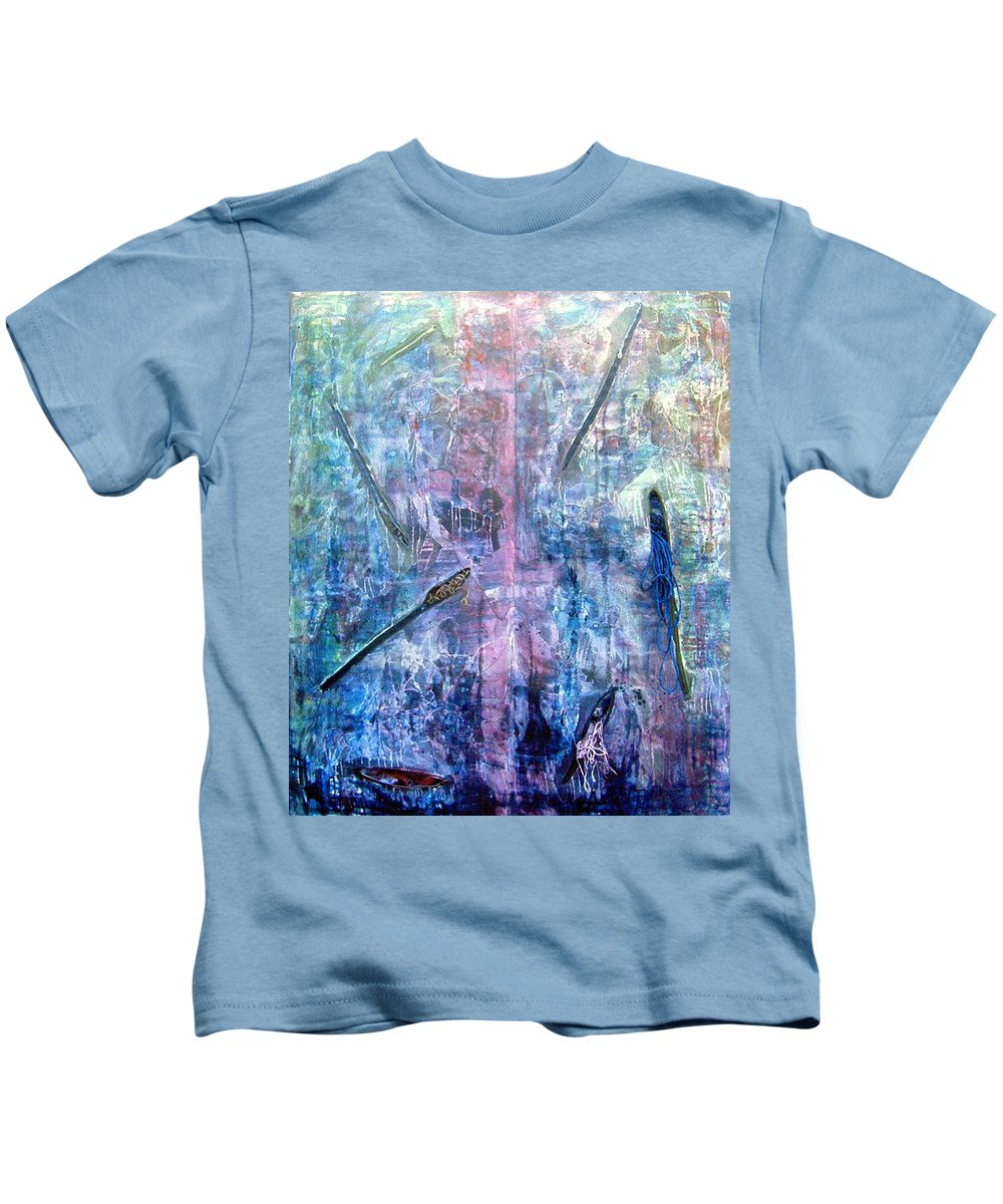 Abstract Kids T-Shirt featuring the painting Seven Zippers by Nancy Mueller