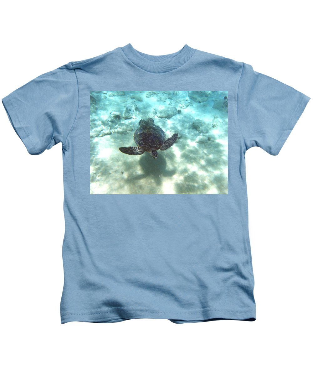 Sea Turtle Kids T-Shirt featuring the photograph Shadow Race by Angie Hamlin