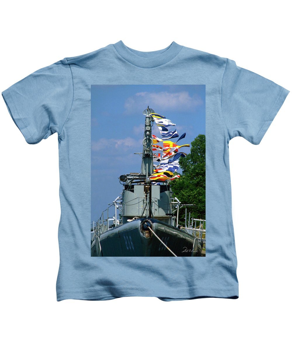 Photography Kids T-Shirt featuring the photograph Silversides Flags by Frederic A Reinecke