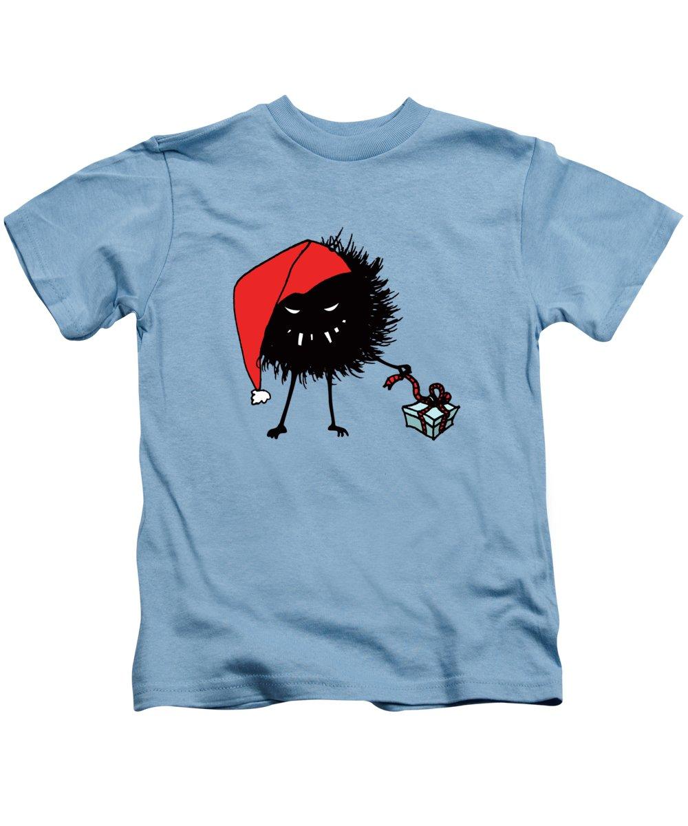 Bug Kids T-Shirt featuring the digital art Singing And Dancing Evil Christmas Bug by Boriana Giormova