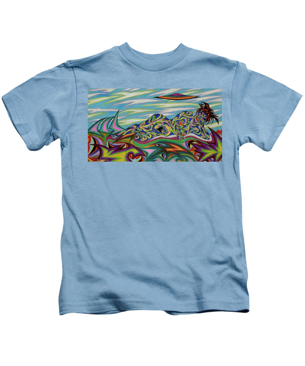 Venus Kids T-Shirt featuring the painting Sirene De Venus by Robert SORENSEN