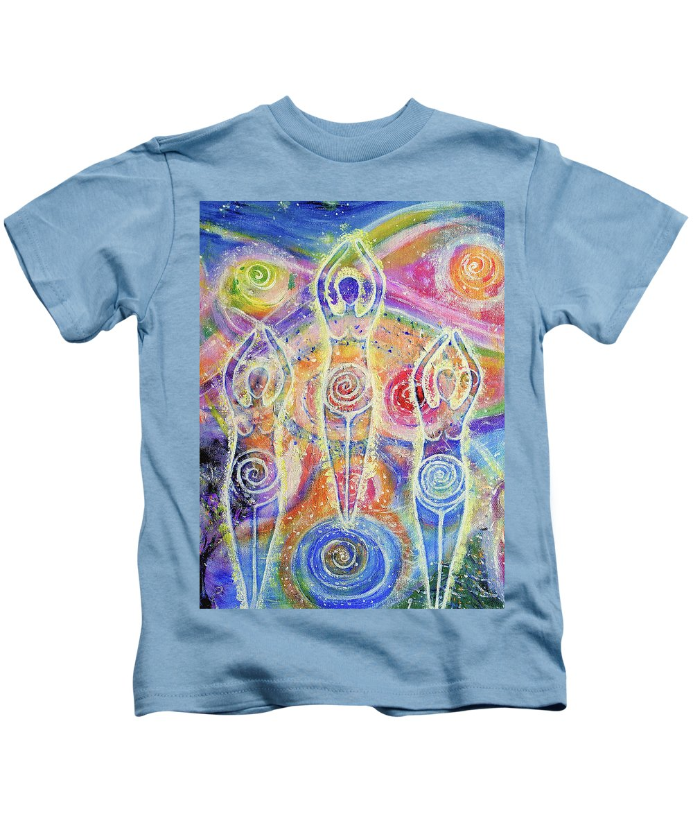 Goddess Kids T-Shirt featuring the painting Sisterhood Of The Divine Feminine by Lila Violet