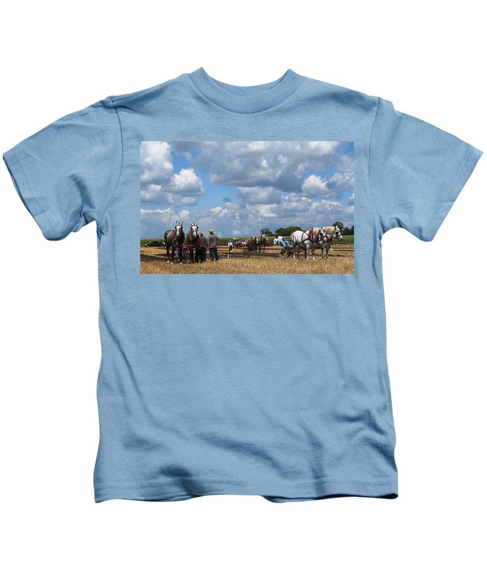 Horse Kids T-Shirt featuring the photograph Six Horses by Ian MacDonald