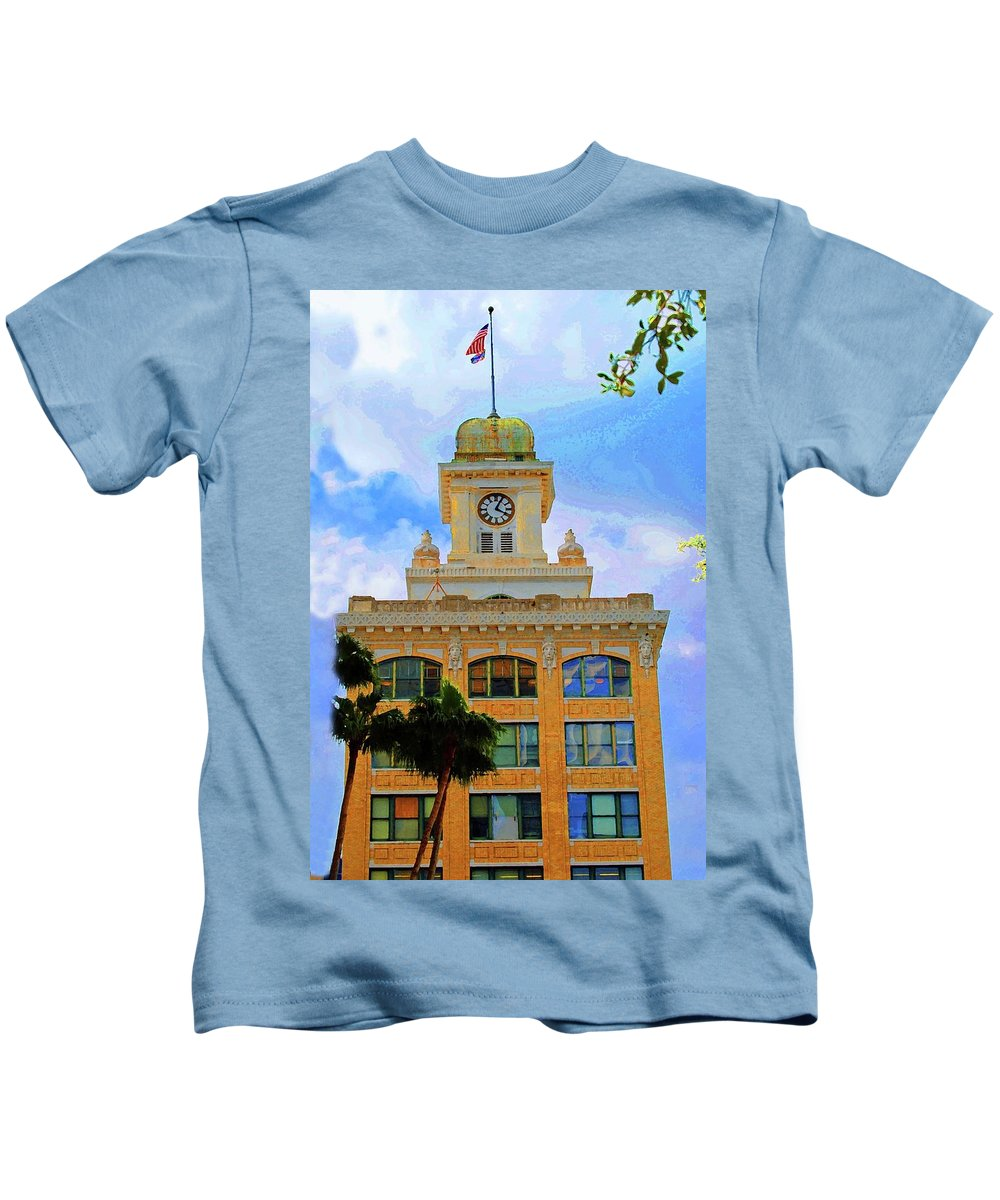 City Hall Kids T-Shirt featuring the photograph Sky Of The Hall by Jost Houk
