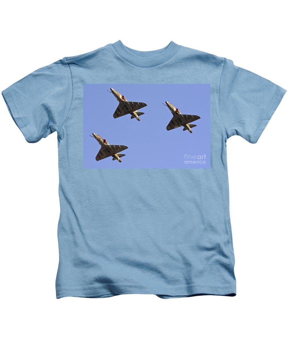 Aircraft Kids T-Shirt featuring the photograph Skyhawk Fighter Jet In Formation by Nir Ben-Yosef