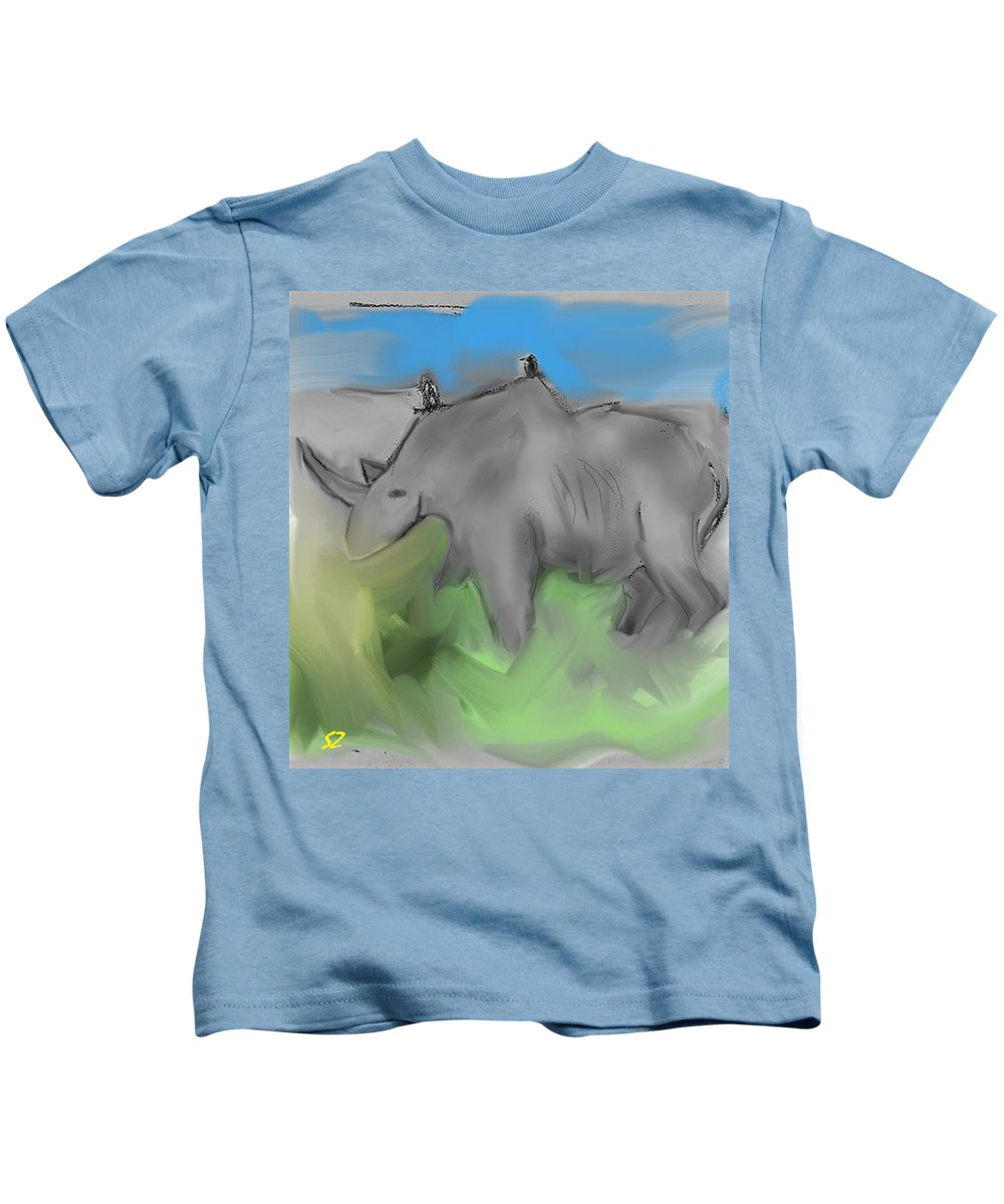 Rhino Kids T-Shirt featuring the mixed media Smear by Samuel Zylstra
