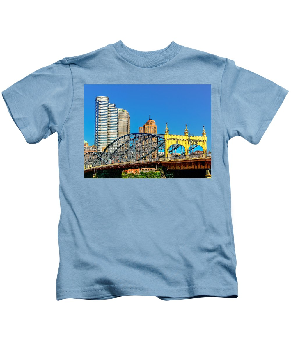 Allegheny Kids T-Shirt featuring the photograph Smithfield Street Bridge by Maria Coulson