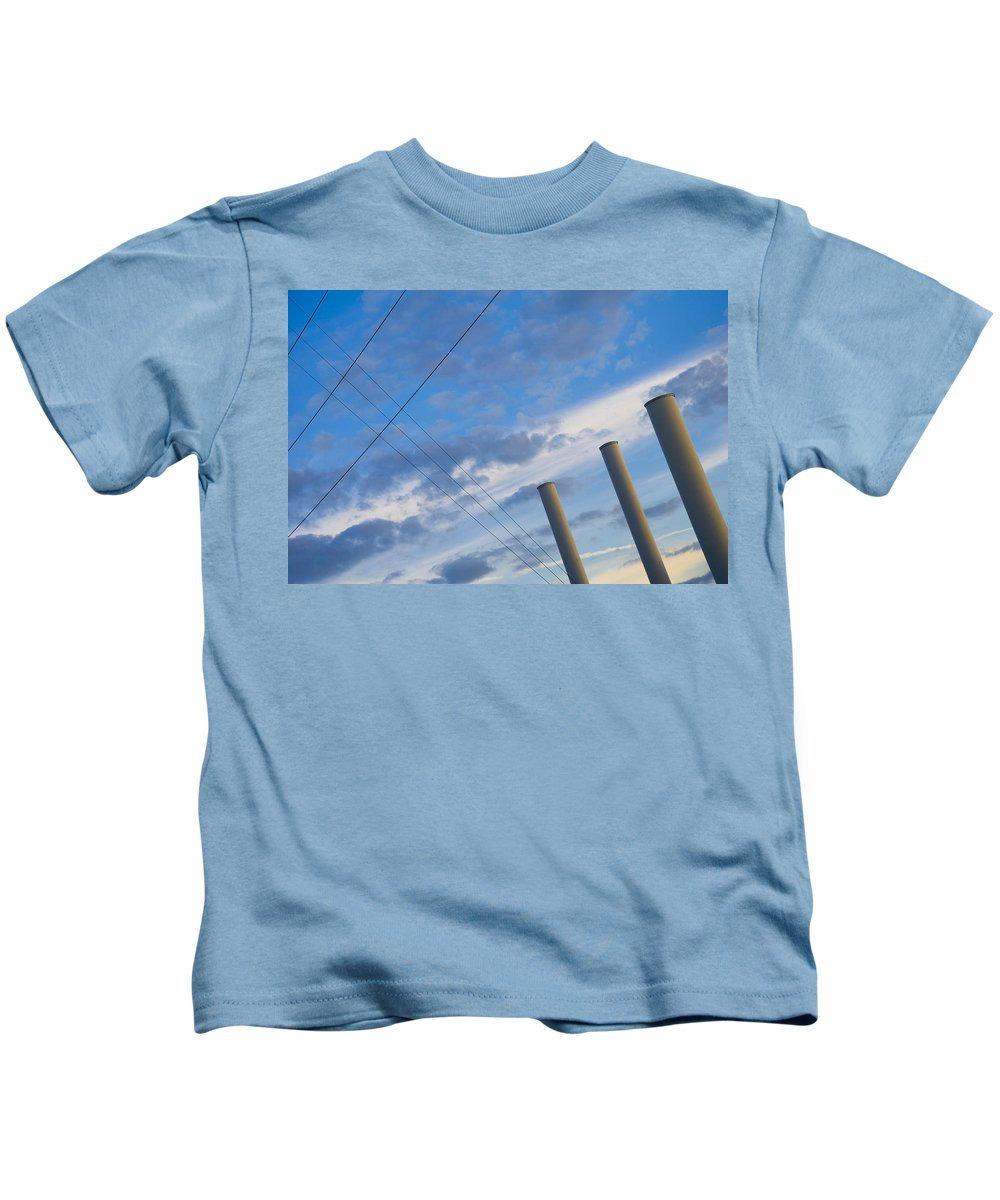 Blue Kids T-Shirt featuring the photograph Smoke Stax by Skip Hunt