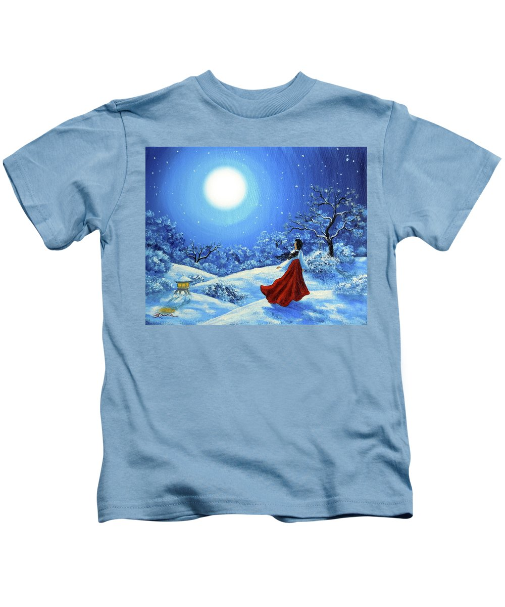 Painting Kids T-Shirt featuring the painting Snow Like Stars by Laura Iverson