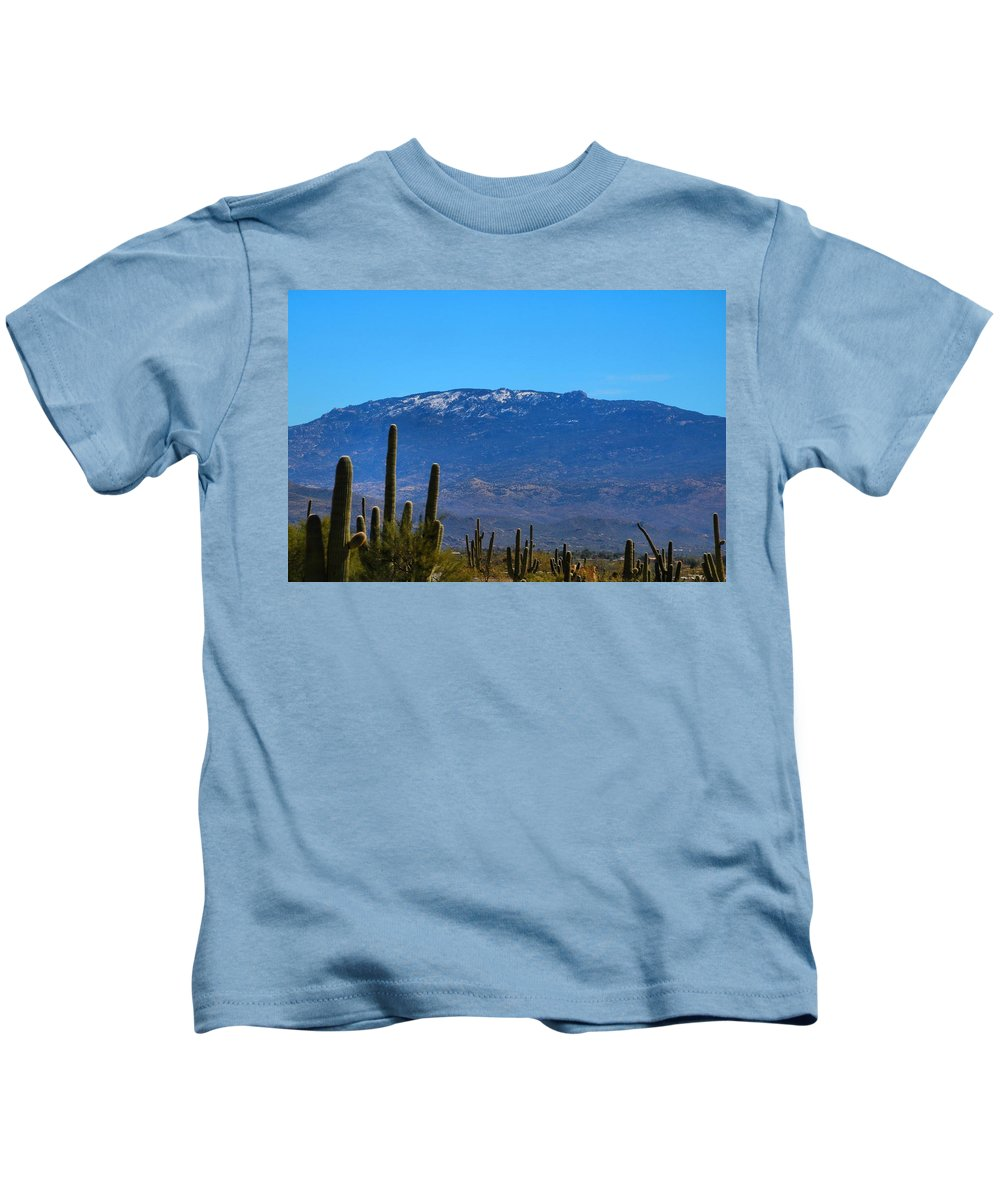 Mountain Kids T-Shirt featuring the photograph Snow On The Mountain by Kathryn Meyer