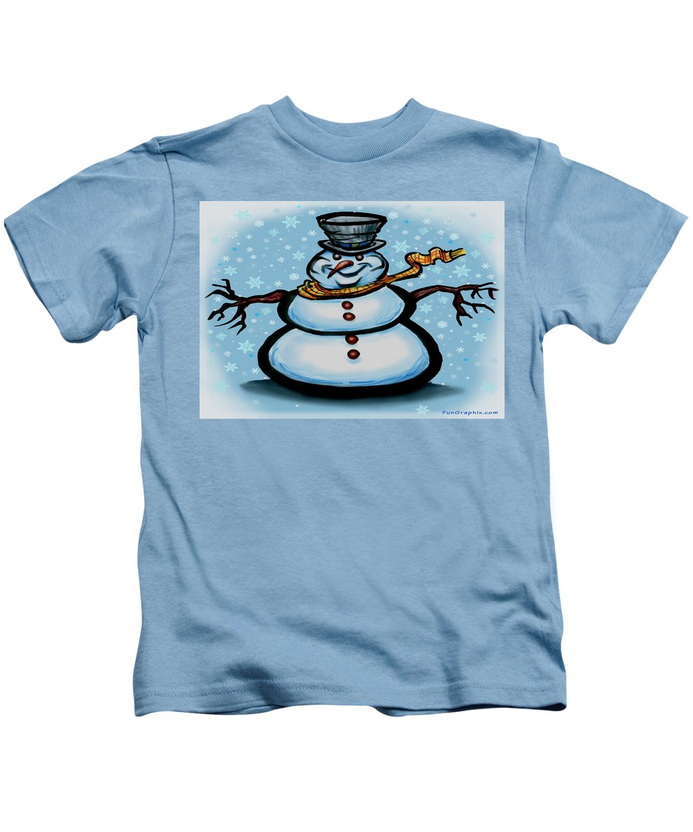 Snowman Kids T-Shirt featuring the greeting card Snowman by Kevin Middleton