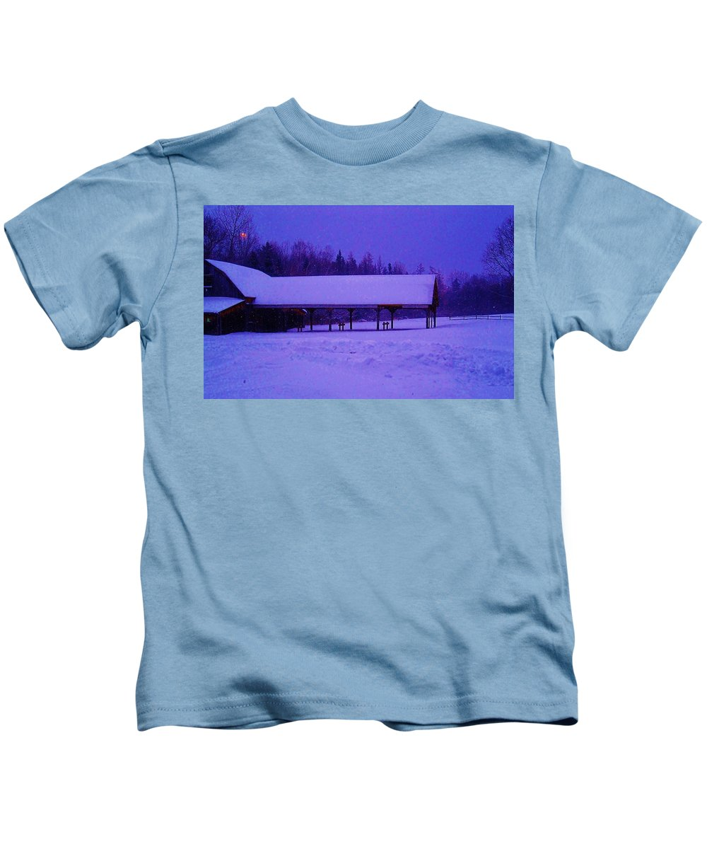 Snow Kids T-Shirt featuring the photograph Snowy Barn by Jacqueline Rodriguez-Diele