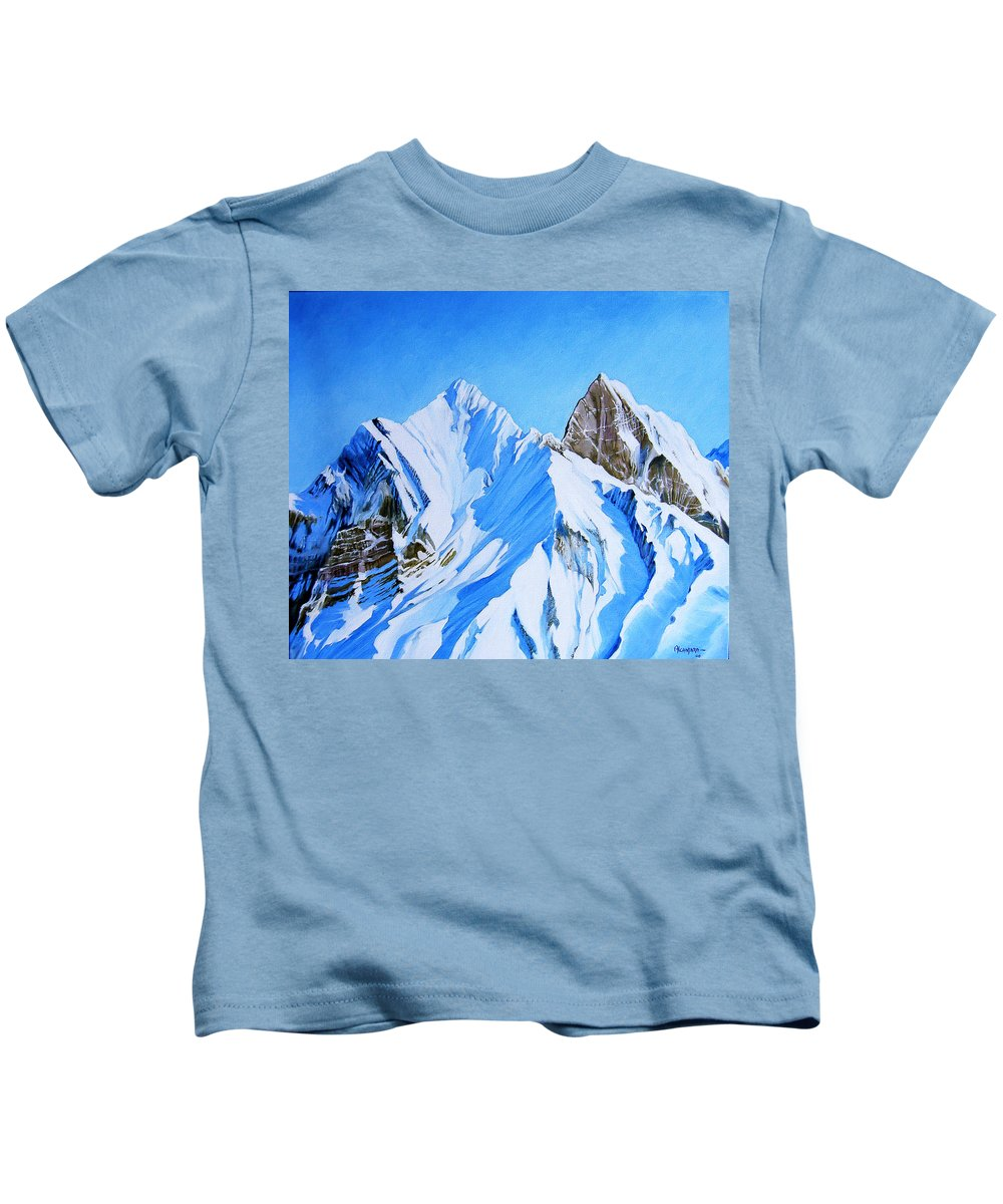 Snow Kids T-Shirt featuring the painting Snowy Mountain by Juan Alcantara