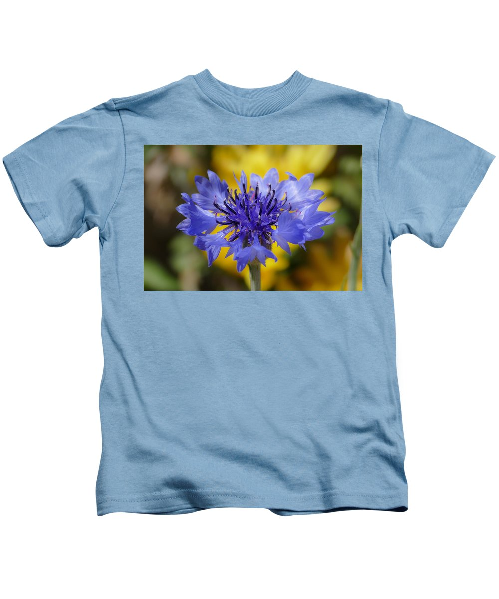 Nature Kids T-Shirt featuring the photograph Soft Bachelor Button by Laurel Powell