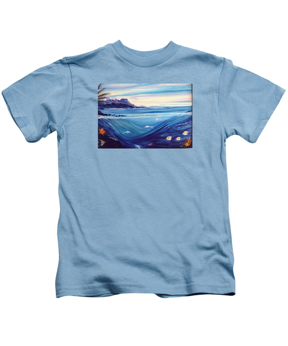 Islands Kids T-Shirt featuring the painting Sokehs Dawn by Dina Holland