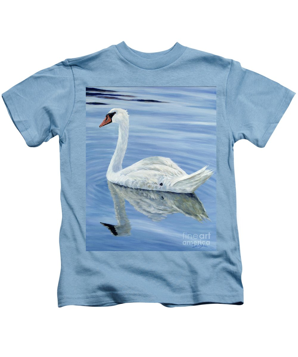 Swan Kids T-Shirt featuring the painting Solitary Swan by Danielle Perry