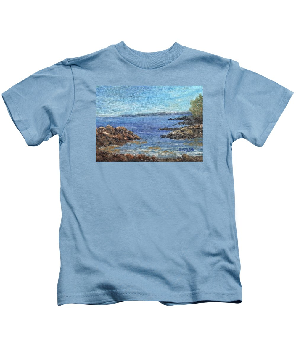 Seascape Kids T-Shirt featuring the painting South from Rye Harbor by Sharon E Allen