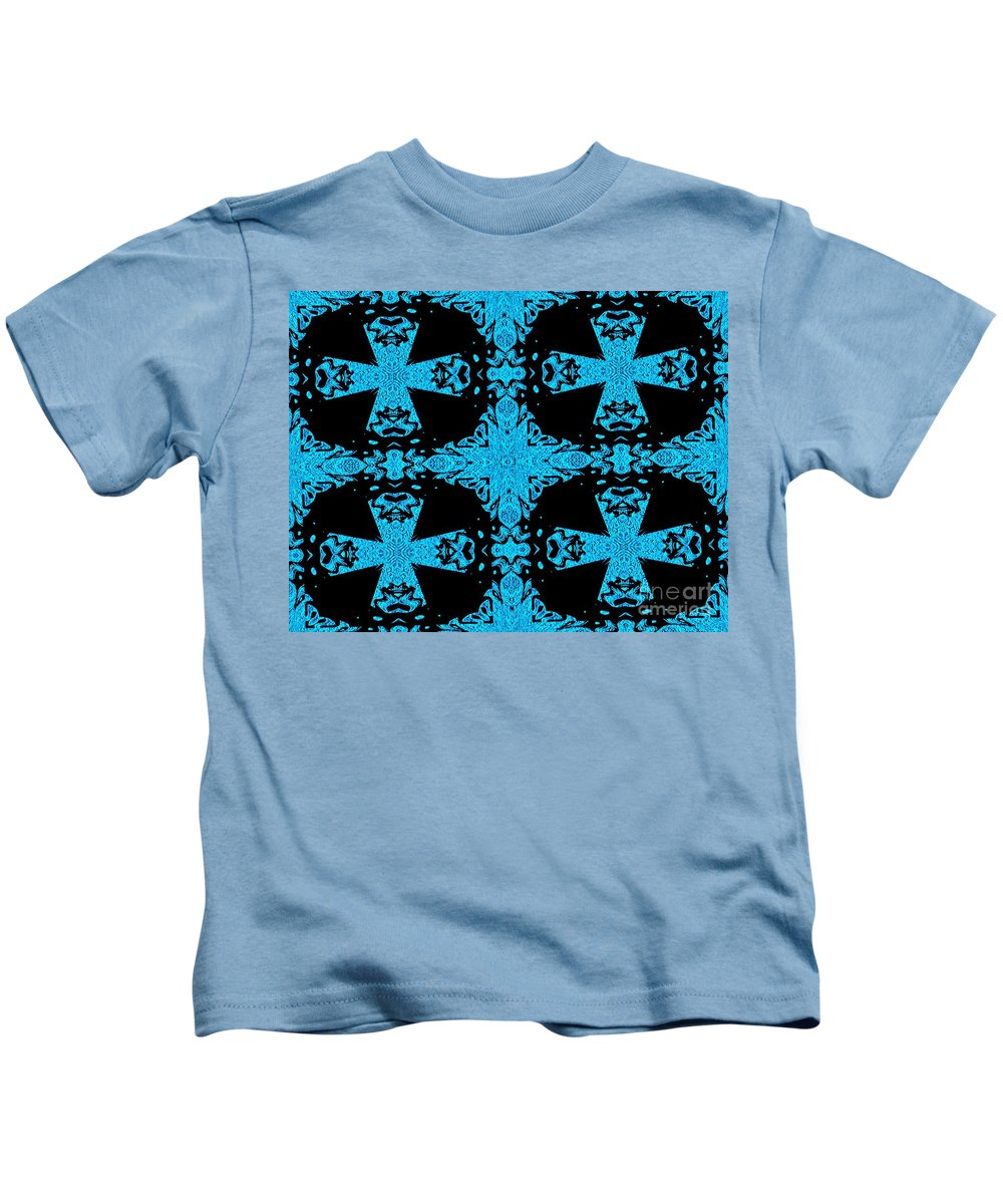 Blue Kids T-Shirt featuring the digital art Space Station Repair Mission by Debra Lynch