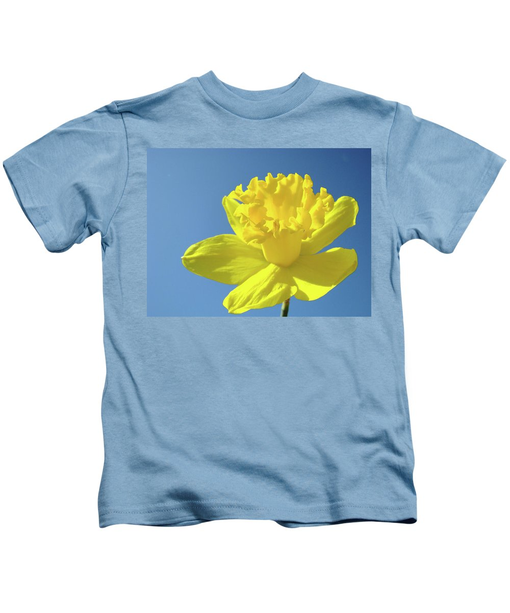 Sky Kids T-Shirt featuring the photograph Spring Daffodil Flowers Art Prints Blue Sky Baslee Troutman by Baslee Troutman