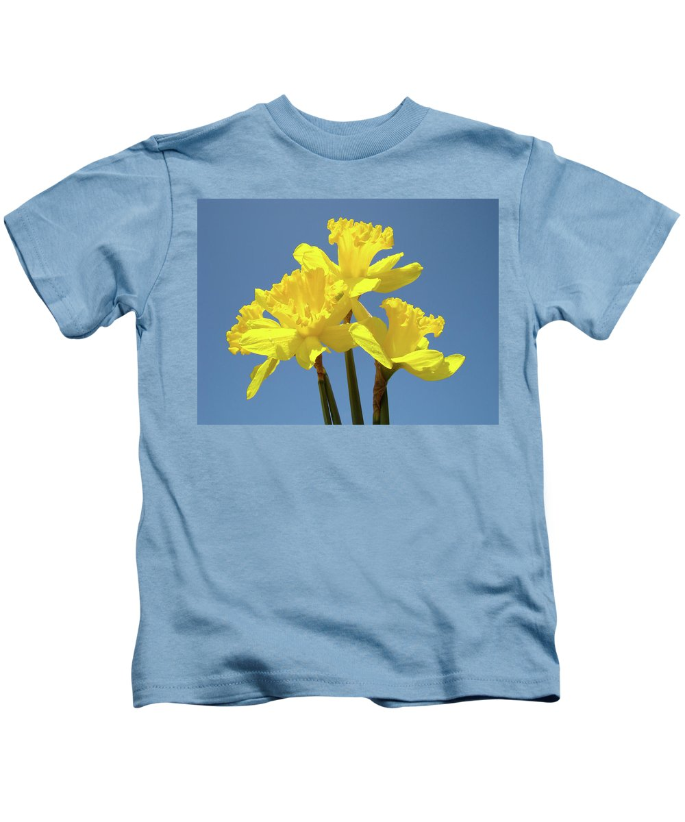 Daffodils Kids T-Shirt featuring the photograph SPRING Daffodil Flowers Art Prints Canvas Framed Baslee Troutman by Patti Baslee