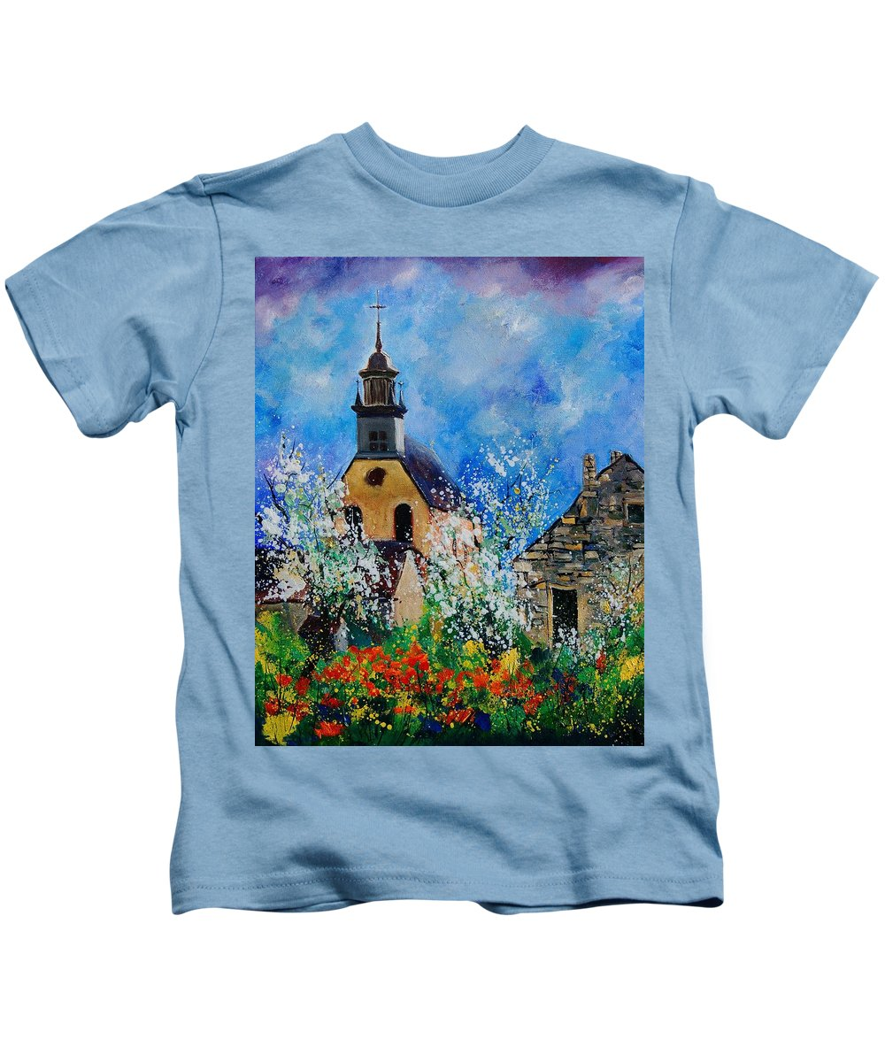 Spring Kids T-Shirt featuring the painting Spring In Foy Notre Dame Dinant by Pol Ledent