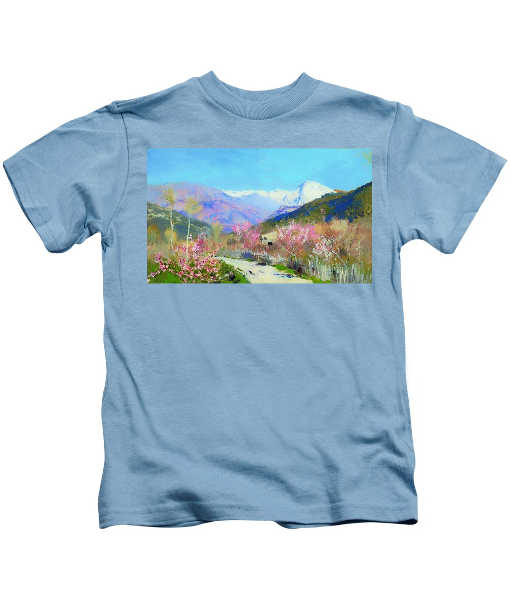 Painting Kids T-Shirt featuring the painting Spring In Italy by Mountain Dreams
