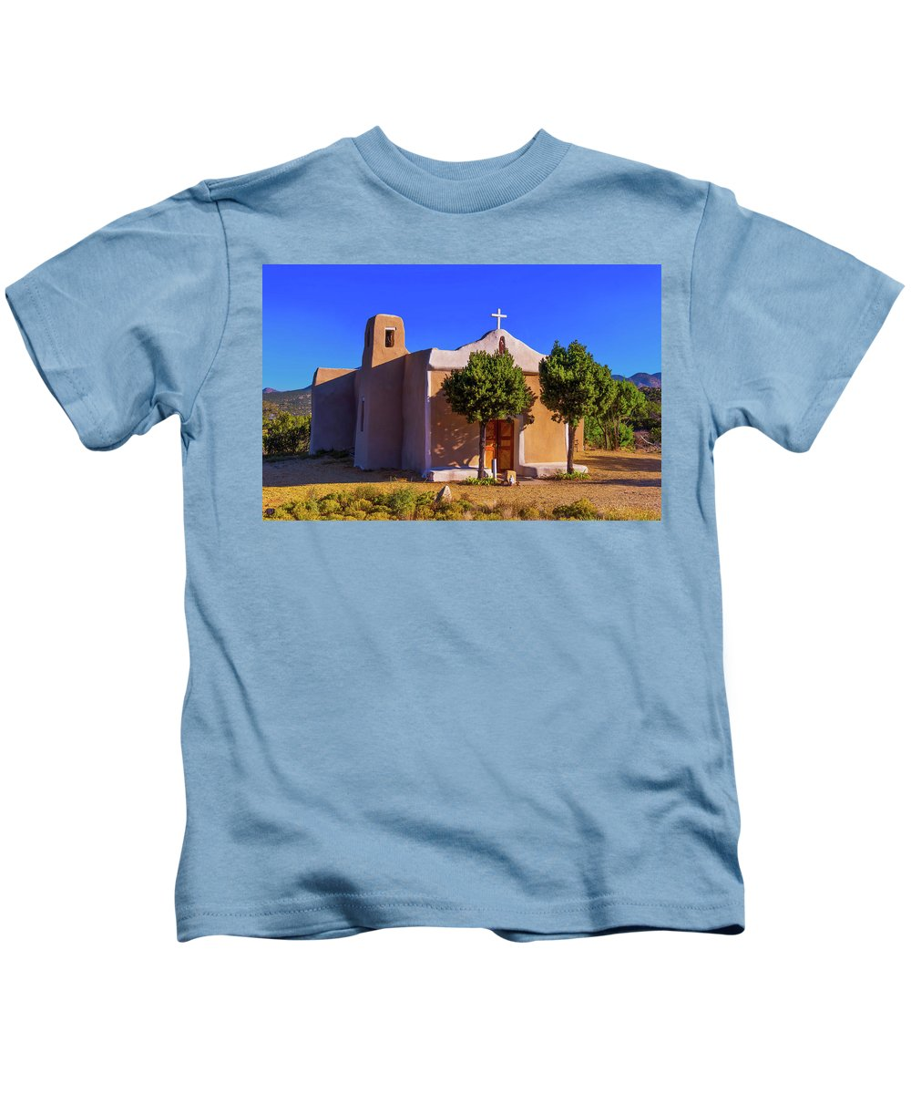 Church Kids T-Shirt featuring the photograph St. Francis De Assisi Adobe Church by Stephen Anderson